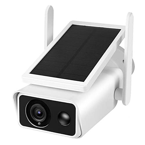 Jings Cámara Solar para Exteriores WiFi, cámaras CCTV con detección de Movimiento HD 1080P, cámara IP de visión Nocturna en Color con Audio bidireccional, cámara inalámbrica a Prueba de Agua