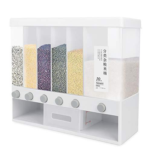 Dispensador de cereales Majome 6 + 1, diseño de 6 + 1, dispensador de cereales, con vaso medidor, dispensador de cereales, muy adecuado para el almacenamiento de cereales, dulces, judías, etc.