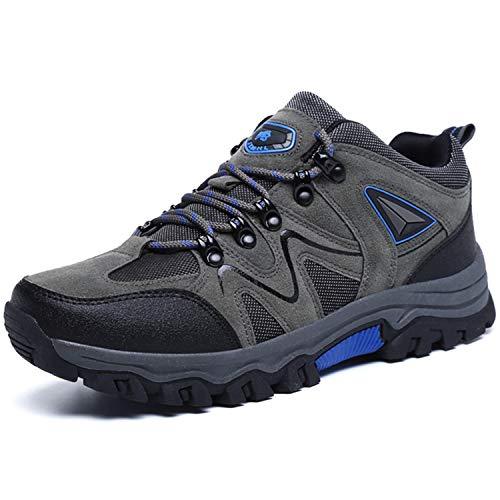 BAOLESEM Wanderschuhe Herren Outdoor Trekkingschuhe Männer Hiking Schuhe rutschfest Bergschuhe für Klettern Reisen Sport,Grau,EU46