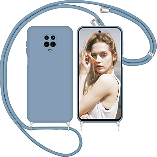Nupcknn Funda Silicona con Cuerda para Xiaomi Redmi Note 9S/ 9 Pro/Pro MAX, Carcasa Suave Silicona Case con Correa Colgante Ajustable Collar Correa de Cuello Cadena Cordón() (Gris)