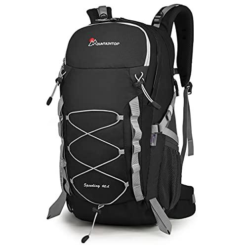 MOUNTAINTOP Zaino Trekking di 40 Litri Zaino da Montagna per Donna e Uomo Zaini da Viaggio Impermeabile con Copertura della Pioggia per Escursionismo Alpinismo Campeggio Nero