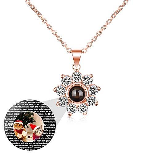 Collar de proyección Collar de foto personalizado Colgante de flor Collar de 100 idiomas TE QUIERO Collar de memoria(Oro rosa a todo color1 24)