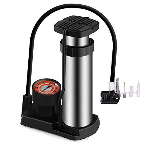EEEKit Mini Fahrradpumpe, tragbare Fahrradbodenpumpe aus Aluminiumlegierung mit Manometer, fußaktivierte Fahrradreifenpumpe, kompatibel mit Presta- und Schrader-Ventil, 120 PSI