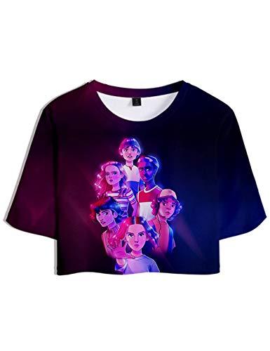 Camiseta Stranger Things Chica, Camiseta Stranger Things Mujer Cortas T Shirt Manga Corta Niña Retro tee Abecedario 3D Impresión T-Shirt Regalo Camisa Verano Camisetas y Tops (I,M)