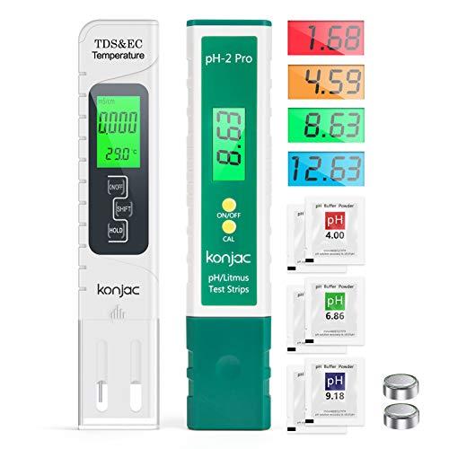 konjac Misuratore PH TDS EC e Temperatura 4 in 1, Tester di Qualità di Acqua di Decolorazione (ATC) per Acqua Potabile / Piscina / Acquario / Piscine, Misuratore di Conduttività