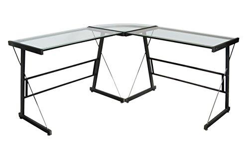 TENZO 3415-000Scrivania da manager, metallo e vetro, nero, 48x 139x 72cm