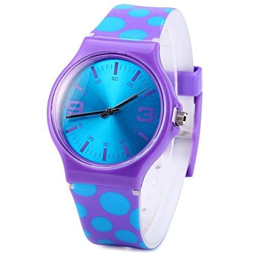 Jian Ya Na Fashion - Reloj analógico de cuarzo para mujer, esfera redonda de silicona ecológica, correa de goma, ideal como regalo para chicas jóvenes.
