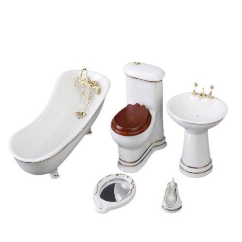 TOOGOO(R) 5 Piece Blanc Ceramique Salle de bain Hamamelidacees pour Maison de Poupee Miniature