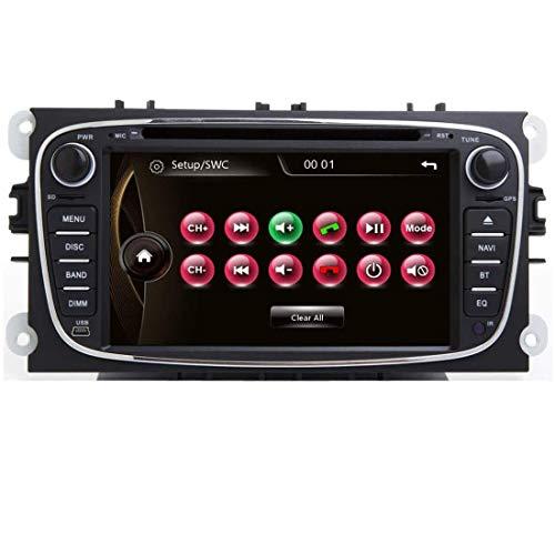 Autoradio 7 Pulgadas 2 DIN Coche Radio Compatible con Ford Focus II 2009 Mondeo Kuga Galaxy C-MAX S-MAX con Navegación GPS CD Reproductor de DVD Pantalla Táctil Video USB EU Map+Cámara de Reversa