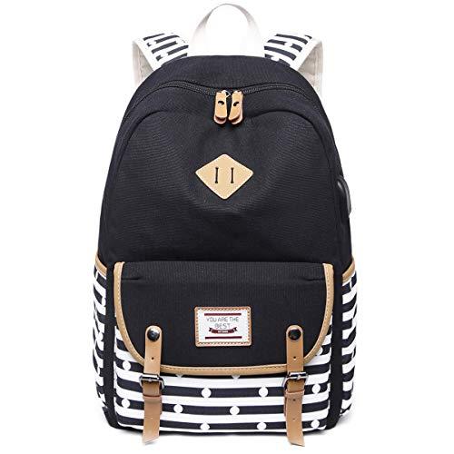 Geagodelia Mädchen Schulrucksack Damen Canvas Rucksack Teenager Große Schultasche Outdoor Daypack mit Moderner Streifen Muster und USB Charging Port (Schwarz)