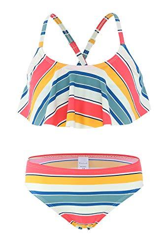 Big Girls Two Piece Bikini Swimsuits Striped Ruffle Swimwear Falbala Bathing Suit Set Size 12/10-12