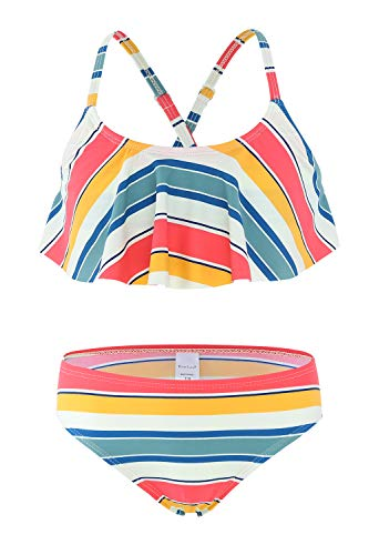 Big Girls Two Piece Bikini Swimsuits Striped Ruffle Swimwear Falbala Bathing Suit Set Size 12/10-12