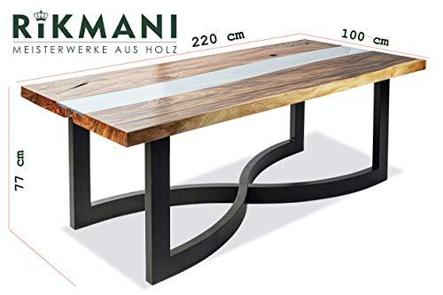 Rikmani - Möbel Tisch - Designer Tisch - Esstisch Massivholz - Baumstamm Tisch - Wohnzimmertisch - Schreibtisch Massivholz - Metallgestell (Tisch Tigris)