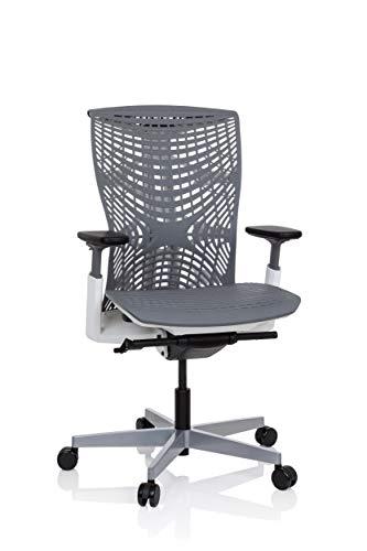 hjh OFFICE 640511 Profi Bürostuhl SKOPE TPE Grau/Weiß ergonomischer Schreibtischstuhl, Flexible Rückenlehne, Sitztiefe & Armlehnen verstellbar