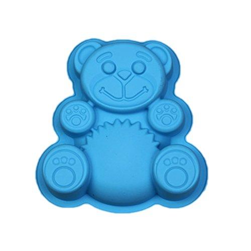Dosige Forme d'ours Au Gâteau Fondant Chocolat en Silicone Moule Gâteau Moule Non-Stick Qualité Alimentaire Silicone (Bleu)