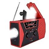Emergency Solar Hand Crank Portable Radio, AM/FM/NOAA Weather Alert Radio with LED Flashlight