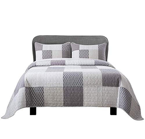 Soul & Lane in The Mist 100% Cotton 3-Piece Patchwork Bedding Quilt Set - King with 2 Shams | Modern Quilted Bedspread