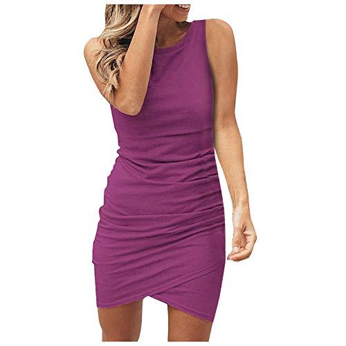 Vestido de verano para mujer, largo hasta la rodilla, monocolor, minivestido, sin mangas, vestido de playa, informal, fino, color lila, talla M