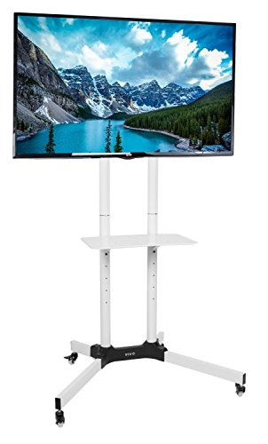 VIVO Mobile TV Cart for 32-65 inch LCD LED Plasma Flat Panel Screen TVs up to 110 lbs, Pro Height Adjustable Rolling White Stand with Laptop Shelf, Locking Wheels - Max VESA 600x400 STAND-TV03W