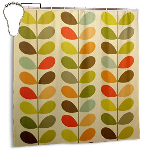 UUPKONE Real Orla Kiely Shower Curtains Waterproof Polyester Bath Curtains Wrinkle-Resistant Quick Dry Curtain Set with 12 Metal Hooks for Master Bathroom Kid