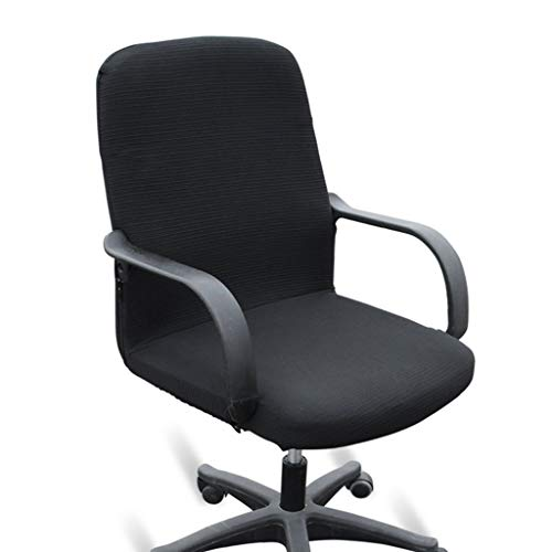 BTSKY Office Computer Chair Covers Stretchy -Polyester Desk Chair/Rotating Chair Cover, Large Size (Black)