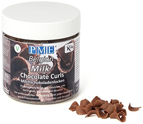 PME Belgian Milk Chocolate Curls for Decorating Cake Muffin Cupcake Desserts 85g