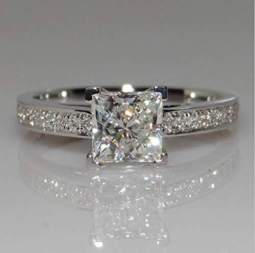 Xiaomei Princess Cut AAA Cubic Zirconia CZ Zircon 18K Gold Filled Wedding Finger Band Ring Engagement Ring Solitaire Engagement Ring Size 6-10 (Size 9)