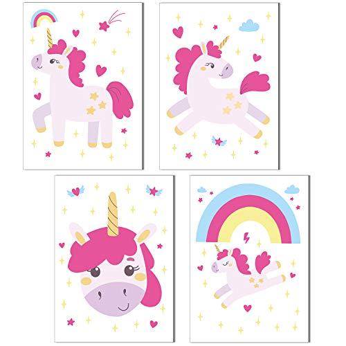ChicResult Wandbilder 4er Set Einhorn Poster für Mädchenzimmer - Kinderzimmer Mädchen Deko Rosa, Regenbogen Bilder, Kinderbilder (DIN A4 ohne Bilderrahmen)