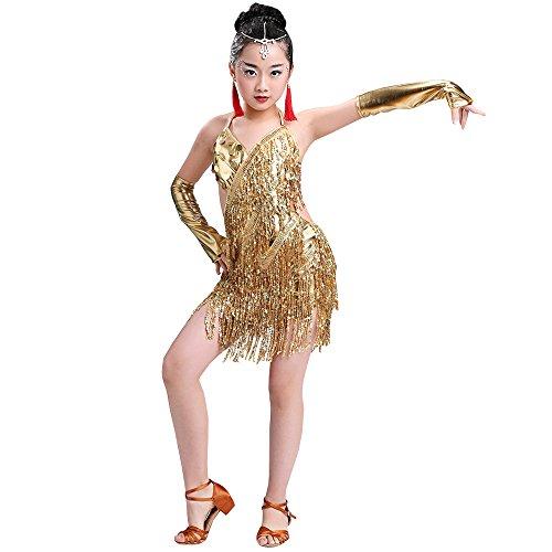 BOZEVON Costume di Prestazione di Ballo Latino dei Vestiti di Sequins della Ragazza Vestito di Ballo Latino dei Jazz dei Bambini, Giallo, EU 110=Tag120CM