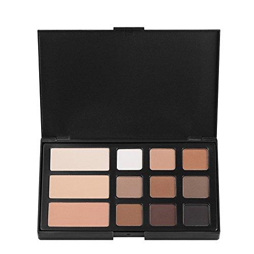JasCherry 12 Farben Matt Lidschatten Makeup Paletten mit Brauenpuder - Sleek Puder Augenschatten Make Up Etui Box - Satte Farben Kosmetik Eyeshadow Palette