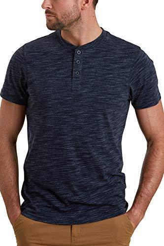 Mountain Warehouse Hasst Henley Herren-T-Shirt – leichtes T-Shirt, kuscheliges, locker sitzendes Top, Rundhalsausschnitt – ideal für Reisen, Outdoor, Camping, Wandern Marineblau XS