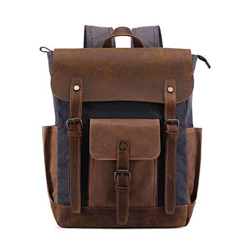 XinMeiMaoYi Outdoor Backpack Backpack Men's Canvas Bag Outdoor Travel Schoolbag Anti-theft Computer Backpack Waterproof Mountaineering Bag Airbag Strap 30 * 11 * H40CM (Color : Black)