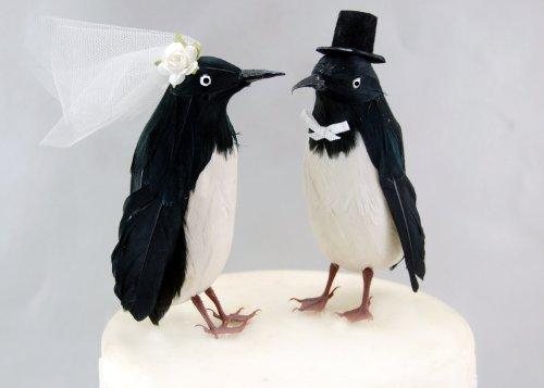 Fancy-Topper giocattolo per torta a forma di pinguino, motivo: 'Bride and Groom' Love-Decorazione per torta di matrimonio, motivo: uccellino
