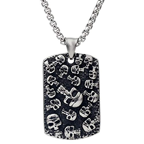 CNFCO 316L Stainless Steel Gothic Biker Skull Pendant Necklace with Chain with Red Crystal Eyes Dog tag for Men (Skull Dog tag)