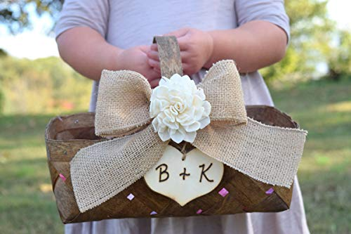 Shabby Chic Flower Girl Basket - Rustic Flower Girl Basket - Rustic Wedding - Shabby Chic Wedding - Rustic Flower Girl - Flower Girl Basket