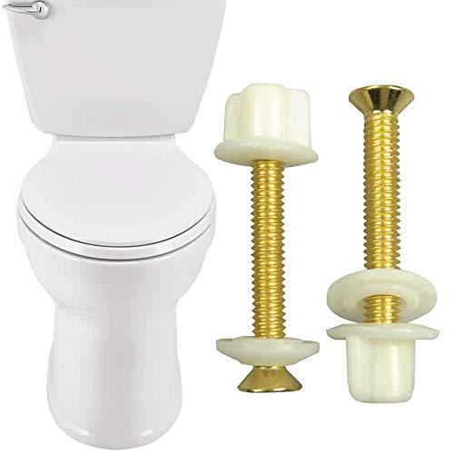 "4 X Brass Toilet Seat Hinge Bolts Nuts l Standard Replacement 5/16"" Metal Screws l Toilet Bolt Sets Universal l Heavy Duty Toilet Seat Hinge Bolts with Plastic Nuts l Replacement Hinge Brass Bolts"