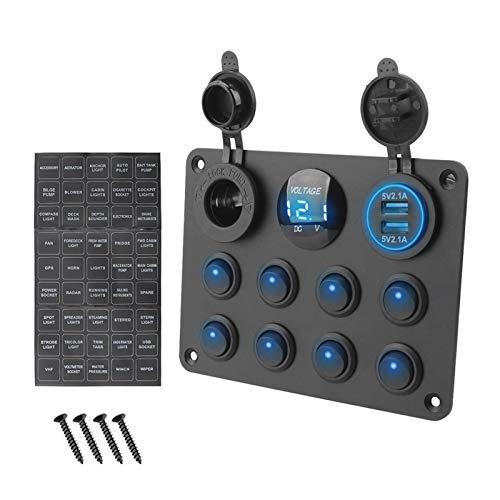 SHOUNAO Voltímetro Digital Dual USB Puerto 12V Combinación de Salidas Impermeable Coche Marino LED Rocker Switch Panel (Color : 8 Gang Blue)