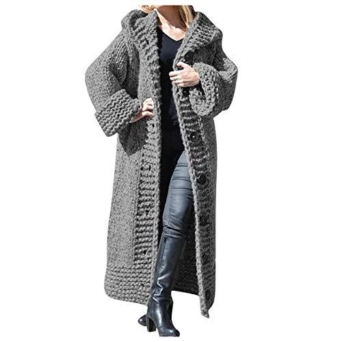 Lulupi Damen Strickjacke Lange Strickmantel Strickpullover mit Kapuze Pullover Grobstrick Cardigan Long Winterjacke Mantel Warm