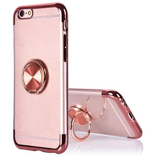 Carcasa protectora para iPhone 6 y 6S, diseño de anillo con soporte de anillo, rotación de 360 grados, soporte magnético para coche, a prueba de golpes, protector de parachoques para iPhone 6/6S, rosa