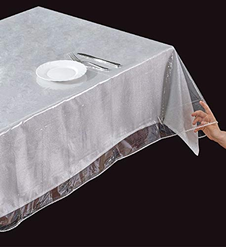 ALL FOR YOU Light Weight PVC Rectangular Clear Transparent Tablecloth Protector, Table Protector, Clear (54' x 72')