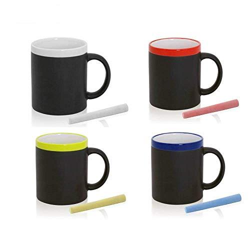 FUN FAN LINE - Set de Tazas de cerámica con Exterior en Pizarra para Dibujar, Cada una con Tiza y en Caja de Regalo Individual. Ideal para café, té o Bebidas Calientes (Multicolor, 20)