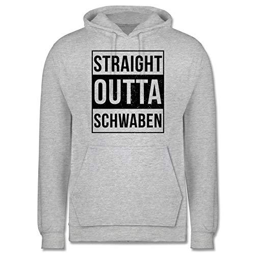 Bazi Shirts Schwaben Männer - Straight Outta Schwaben Schwarz - XXL - Grau meliert - JH001_Hoodie_Herren - JH001 - Herren Kapuzen Pullover