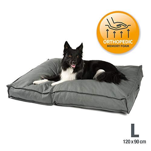 JAMAXX Premium Hundekissen - Orthopädisch Memory Schaumstoff-Flocken, Waschbar Abnehmbarer Bezug Wasserabweisend - Hundebett mit Canvas Stoffbezug PDB1007 (L) 120x90 grau
