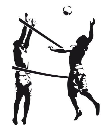 Wandtattoo Wandaufkleber Volleyball #114B schwarz 90cm x 120cm (RAL9005) VERSANDKOSTENFREI!