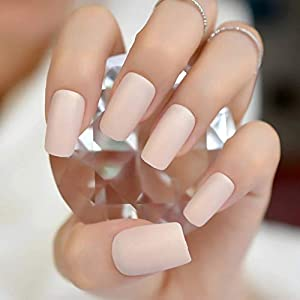 EDA LUXURY BEAUTY NATURAL NUDE PINK BEIGE MATTE GLAMOROUS DESIGN Full Cover Press On Gel Glitter Artificial Nail Tips… 8