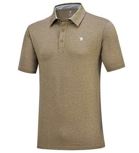 donhobo Herren Poloshirts Einfarbig Basic Kurzarm Polohemd T-Shirt Schnelltrocknend Golf Polo Shirt (Armeegrün, L)