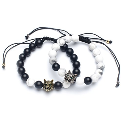 Karseer Yin Yang Matching Distance Bracelet Retro Viking Wolf Charms Black Matte Onyx and White Howlite 8mm Stone Beads Friendship Relations Anxiety Relief Bracelet Set for Guys Couples His and Hers