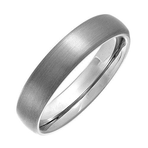 Theia Titanium Matt Finish Court Shape 5mm Ring - Size Z+2