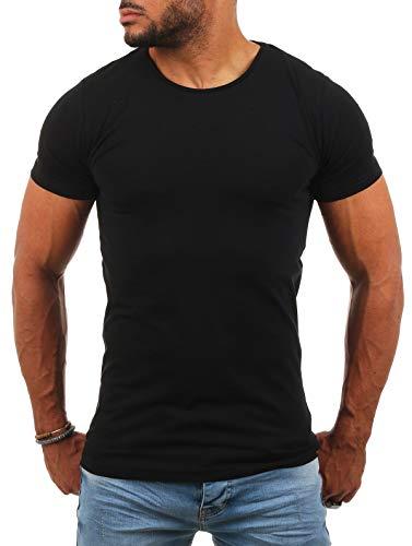 Young & Rich Herren Uni Basic T-Shirt mit Rundhals Ausschnitt einfarbig Round Neck Tee Stretch körperbetonte Dehnbare Passform, Grösse:M, Farbe:Schwarz