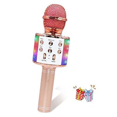 Karaoke Machine, Zanfee 4 in 1 Wireless Bluetooth Karaoke Machine with Dancing LED Lights, Portable Handheld Karaoke Machine for Home KTV, Best Holiday Birthday Gift for Kids Girls Adults